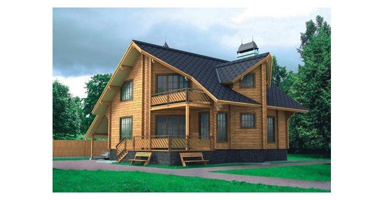 Проект дома БО-179 из профилированного бруса, 179кв.м. - общий вид