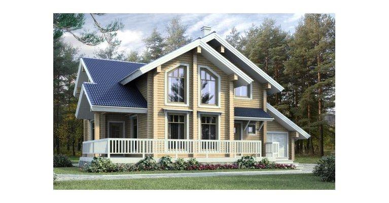 Проект дома БП-142 из профилированного бруса, площадь 142 кв.м - общий вид