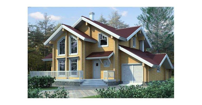 Проект дома БП-143 из профилированного бруса, 143кв.м. - общий вид