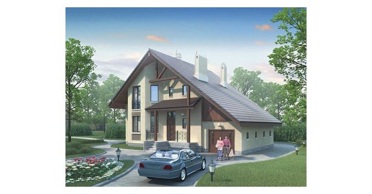 Проект кирпичного дома К-210, площадь 210 кв.м - общий вид