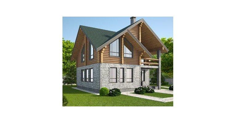 Проект дома КМ-188 из оцилиндрованного бревна, 188кв.м. - общий вид