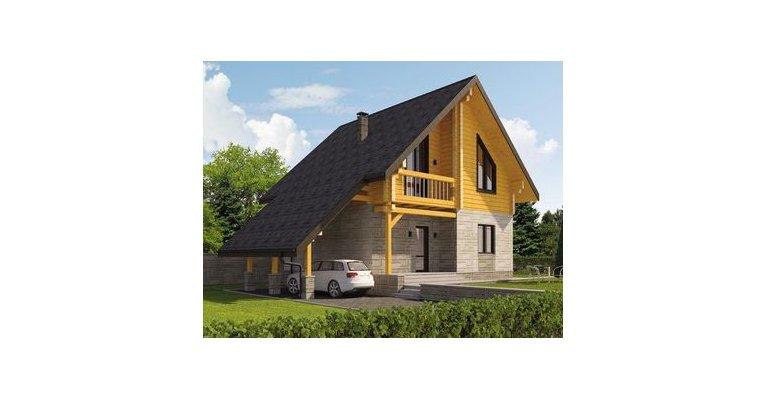 Проект дома КМ-198 из оцилиндрованного бревна, 198кв.м. - общий вид