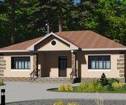 Проект одноэтажного кирпичного дома ГБ-128, площадь 128 кв.м - вид 1