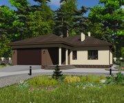 Проект одноэтажного кирпичного дома ГБ-223, площадь 223 кв.м - вид 1