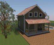 Проект дома Дачный-36 из профилированного бруса 6х6 м - вид 2