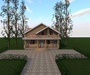 Проект дома БЦ-200 из оцилиндрованного бревна, площадь 200 кв.м - вид 1