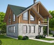 Проект дома КМ-188 из оцилиндрованного бревна, 188кв.м. - вид 1
