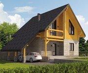 Проект дома КМ-198 из оцилиндрованного бревна, площадь 198 кв.м - вид 1