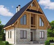 Проект дома КМ-208 из оцилиндрованного бревна, площадь 208 кв.м - вид 1