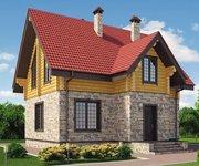 Проект дома КМ-214, оцилиндрованное бревно, 214 кв.м. - вид 1